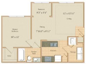 678 sq. ft. floor plan