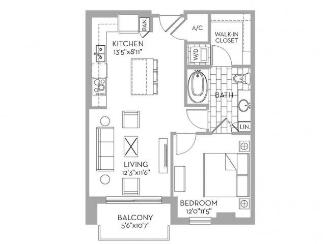 710 sq. ft. Royal(A.2) floor plan