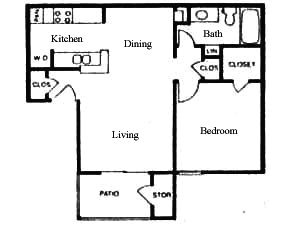 626 sq. ft. A floor plan