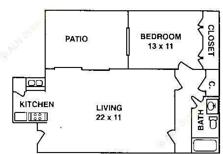 675 sq. ft. A-1B ABP floor plan