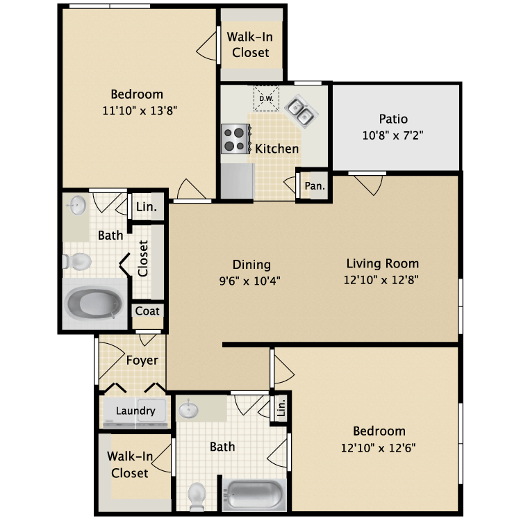 1,023 sq. ft. II B1 floor plan