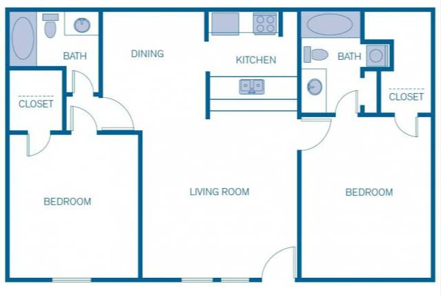 1,040 sq. ft. 2A floor plan