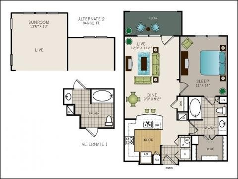 746 sq. ft. to 846 sq. ft. Dawson floor plan
