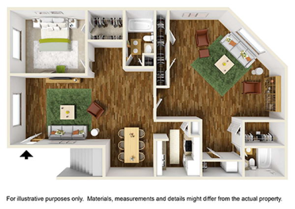 1,218 sq. ft. floor plan