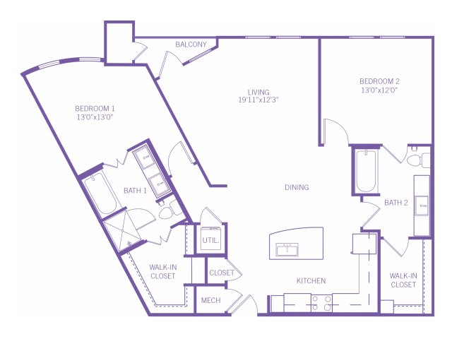 1,242 sq. ft. B5 floor plan