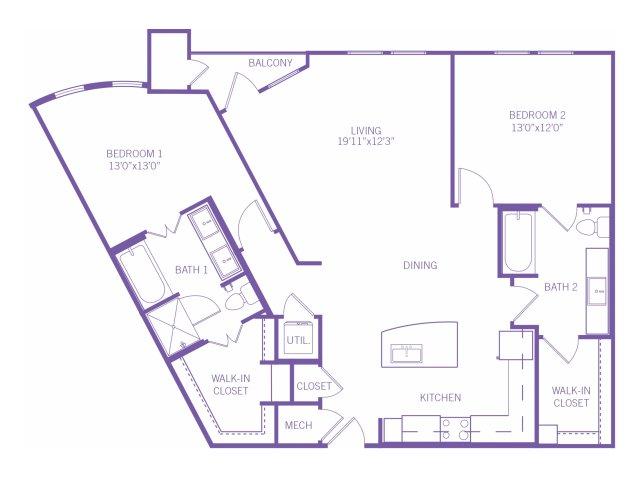 1,242 sq. ft. B5 floor plan