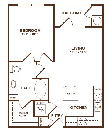 609 sq. ft. A1 floor plan