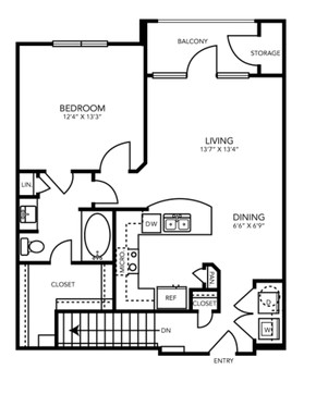 808 sq. ft. A3G floor plan