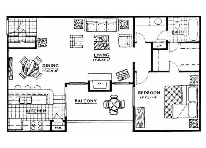 810 sq. ft. A2 floor plan