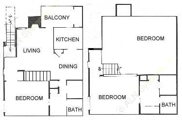 1,052 sq. ft. 2D floor plan