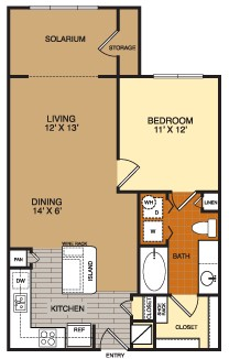 873 sq. ft. A2 floor plan