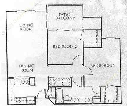 956 sq. ft. B1 floor plan