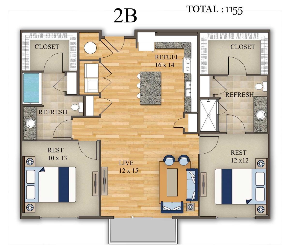 1,155 sq. ft. 2B floor plan