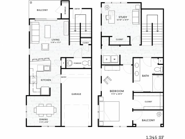 1,345 sq. ft. TH1 floor plan