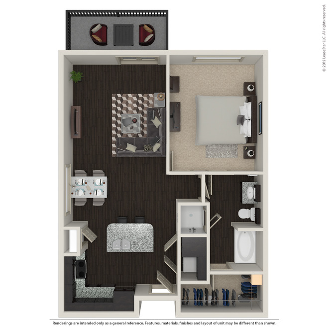 847 sq. ft. A3.4 floor plan