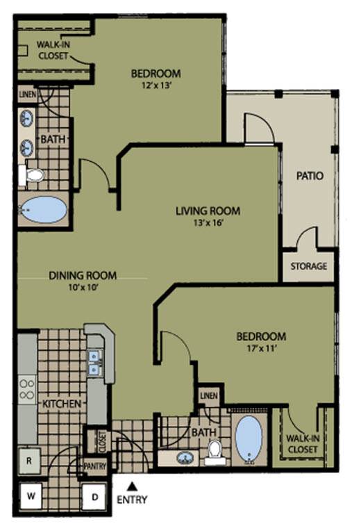 1,181 sq. ft. to 1,193 sq. ft. Pinehurst floor plan