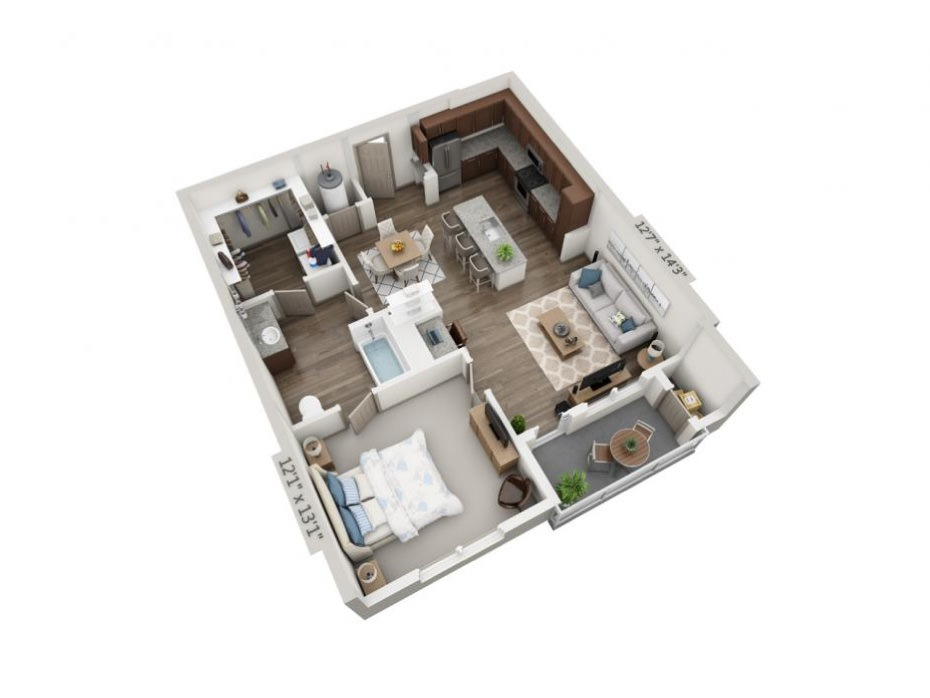 839 sq. ft. to 853 sq. ft. A2 floor plan