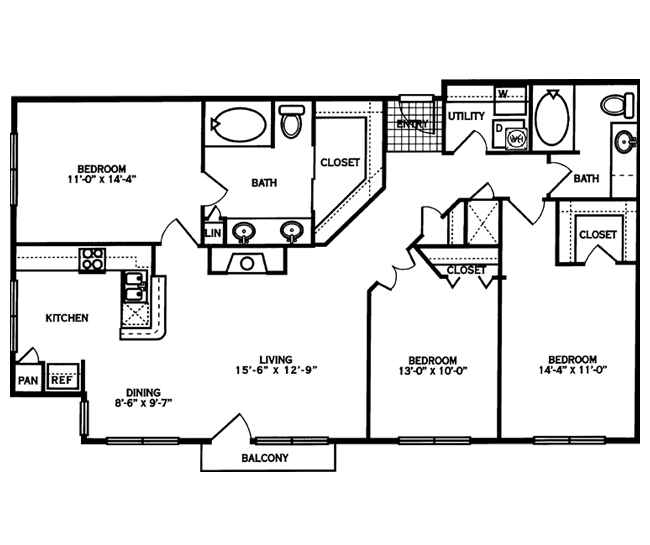 1,378 sq. ft. JEFFERSON floor plan