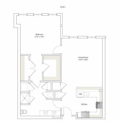 963 sq. ft. A14-1 floor plan