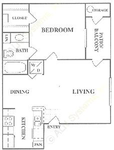 593 sq. ft. A+A1 floor plan