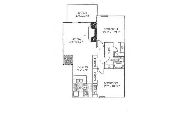 949 sq. ft. B-2 floor plan