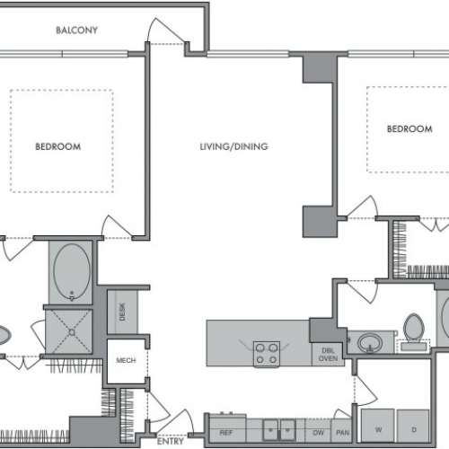 1,336 sq. ft. P floor plan