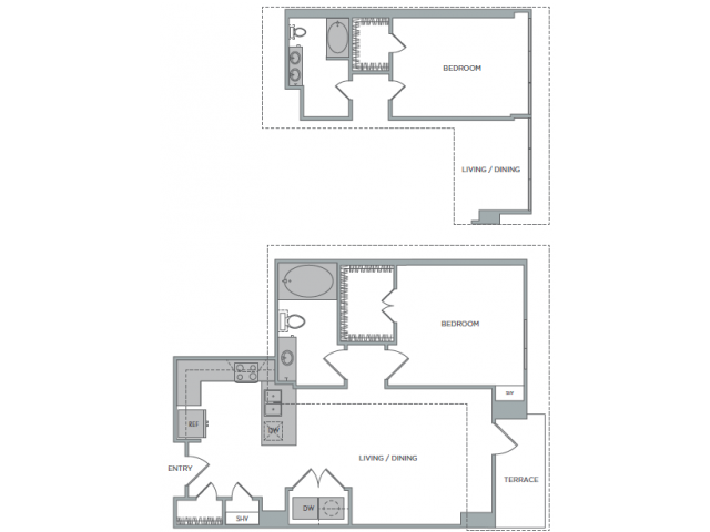 792 sq. ft. to 906 sq. ft. 1I floor plan