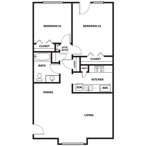 923 sq. ft. C floor plan