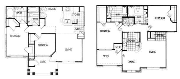 966 sq. ft. to 994 sq. ft. 60% floor plan