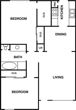 875 sq. ft. to 925 sq. ft. floor plan