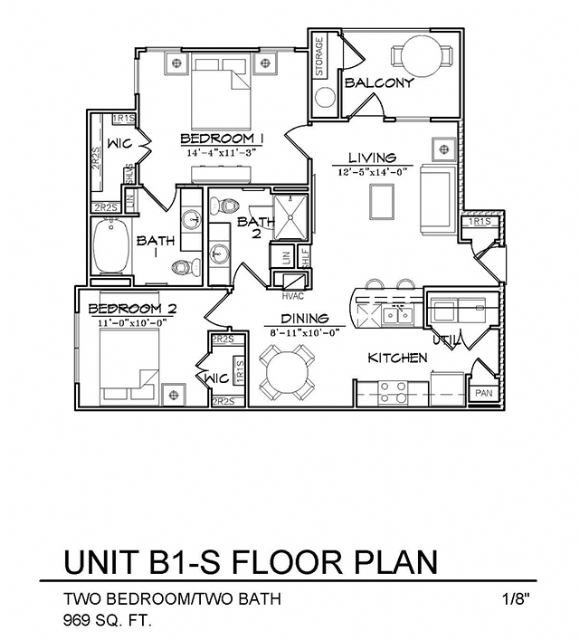 969 sq. ft. B1S floor plan