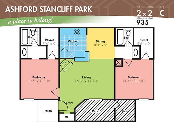 935 sq. ft. H floor plan