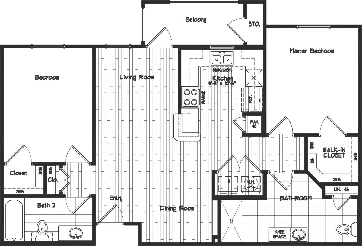1,017 sq. ft. to 1,043 sq. ft. 60% floor plan