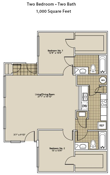 1,000 sq. ft. B3-A floor plan