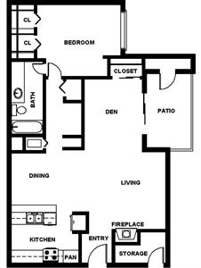 996 sq. ft. A4 floor plan