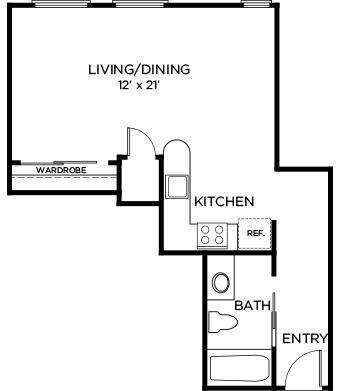 485 sq. ft. A1 floor plan