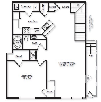970 sq. ft. A2U floor plan