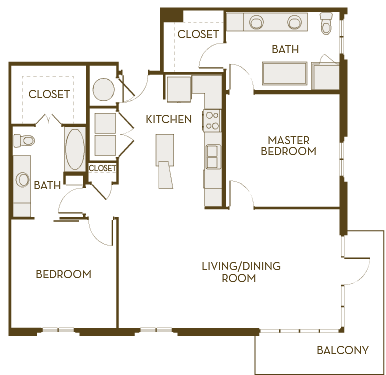 1,305 sq. ft. B2J floor plan