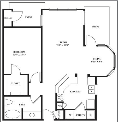 845 sq. ft. PALAMINO floor plan