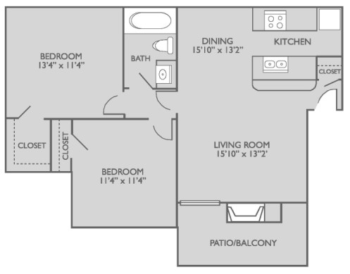 814 sq. ft. A2n3 floor plan