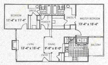 1,178 sq. ft. B2 floor plan