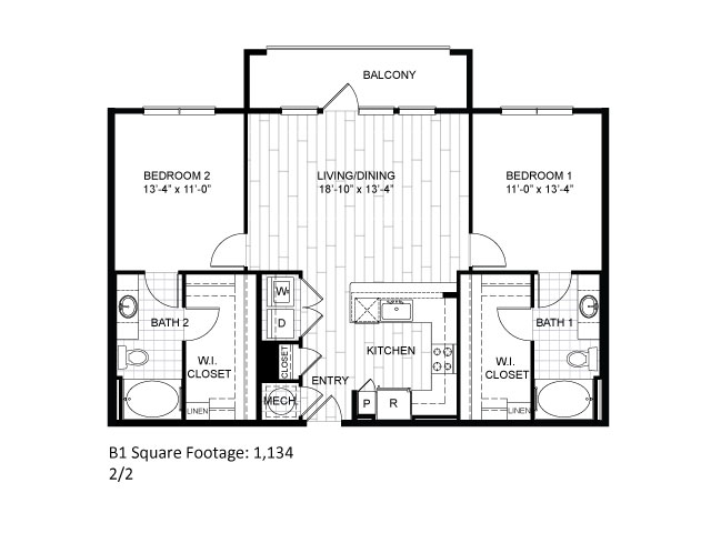 1,134 sq. ft. B1 floor plan