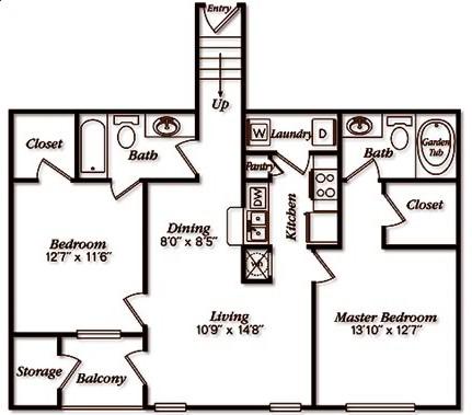1,107 sq. ft. floor plan