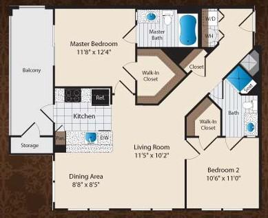 962 sq. ft. C5/Kessler floor plan