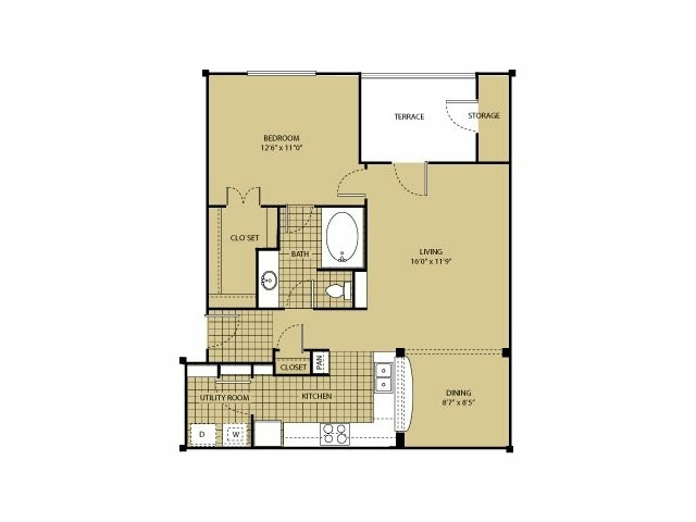 754 sq. ft. A3 floor plan