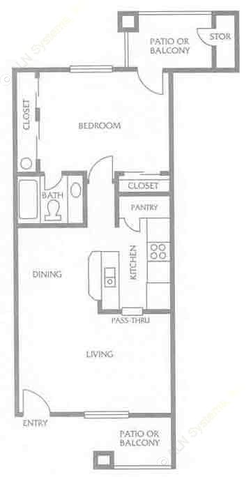 618 sq. ft. to 731 sq. ft. E floor plan