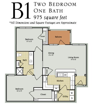 975 sq. ft. B1-60 floor plan