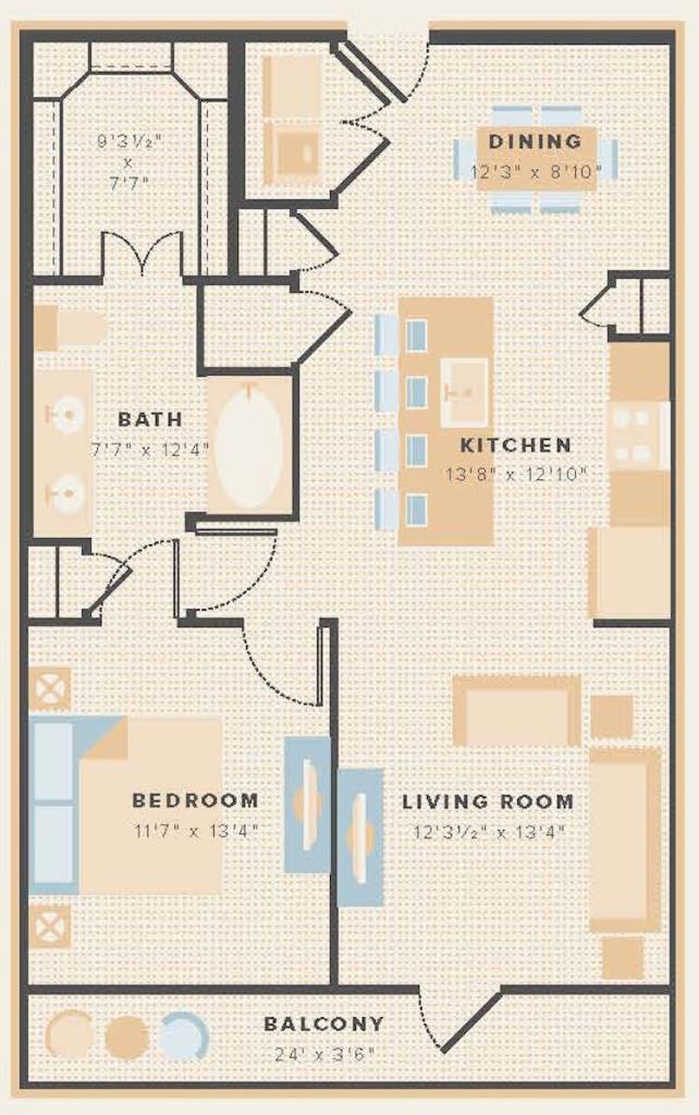 840 sq. ft. A14 floor plan