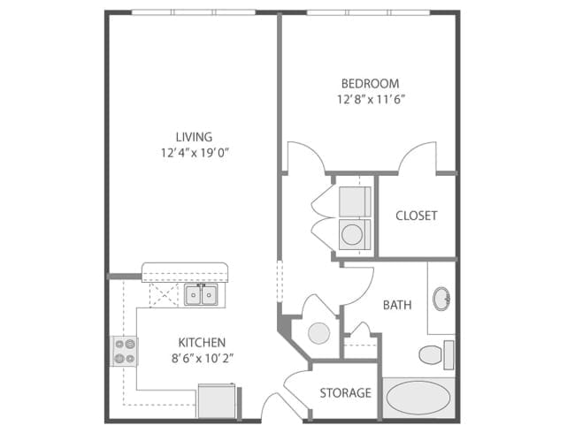 789 sq. ft. Colonna/A3E floor plan