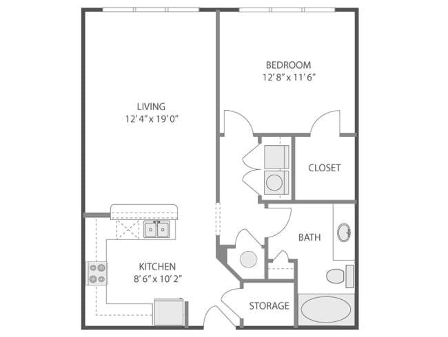 789 sq. ft. Colonna/A3E floor plan